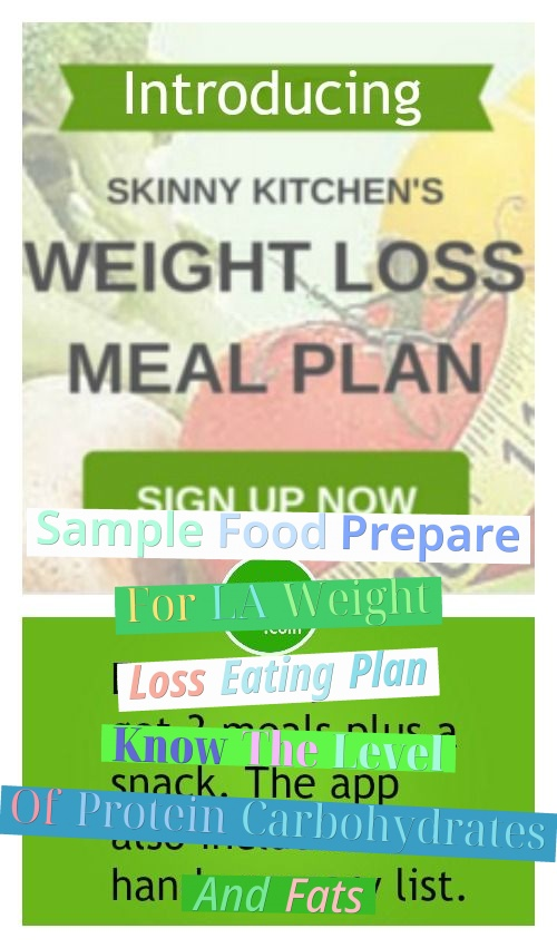 Sample Food Prepare For LA Weight Loss Eating Plan - Know The Level Of Protein, Carbohydrates And Fats